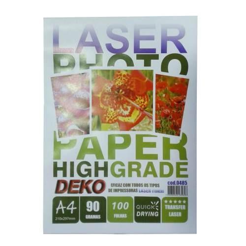 Papel Transfer Laser Rigido 100 Folhas A4 90gr High Quality