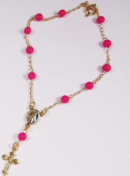 Pulseira Terço Bolinhas Pink 3063