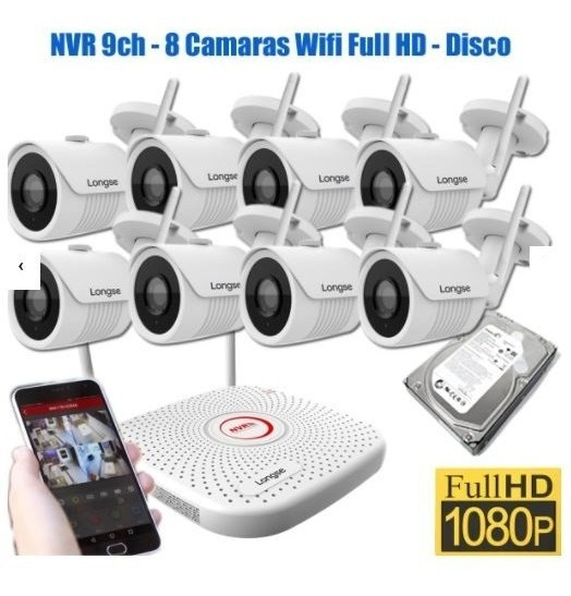 Kit 8 Camaras Seguridad Wifi Full Hd Exterior Disco Fuentes