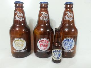 3 Botellas Cerveza Polar 70 Aniversario + Miniatura Vacia
