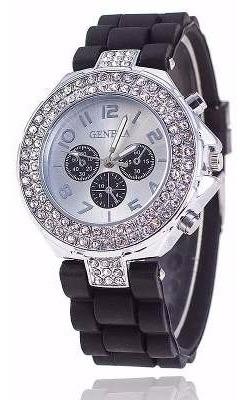 Relógio Feminino Prateado Silicone Preto Com Strass Geneva
