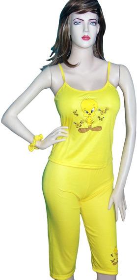 Pijama Mujer Conjunto Estampado Franelilla Pantalón Capri