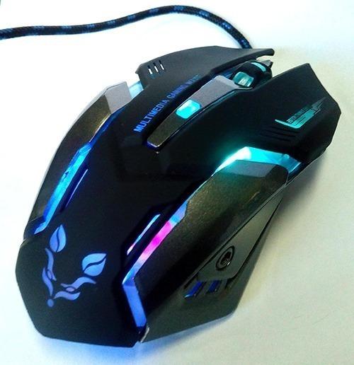 Mouse Gamer Tj10 6 Botones Luz Led Colores 1600 Dpi Grande