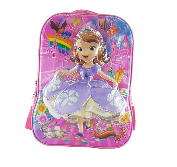 Mochila Escolar Costas Princesa Sofia 3d
