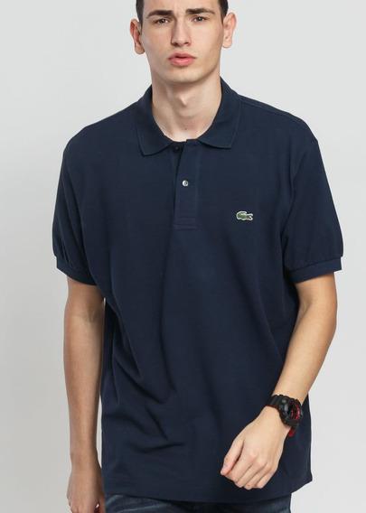 Camiseta Lacoste Gola Polo Azul Marinho Importada Peruana