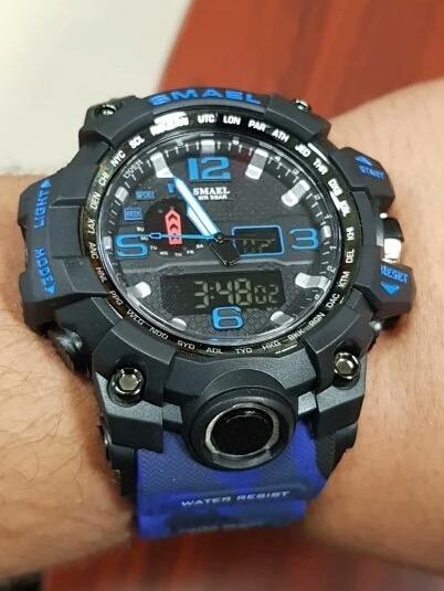 Relógio Smael Camuflado Azul Impecavel Lindo A Prova D