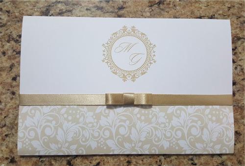 Imagem 1 de 6 de 10 Convites Barato 14 X 21 Cm. Com Fita Cetim Laço Chanel