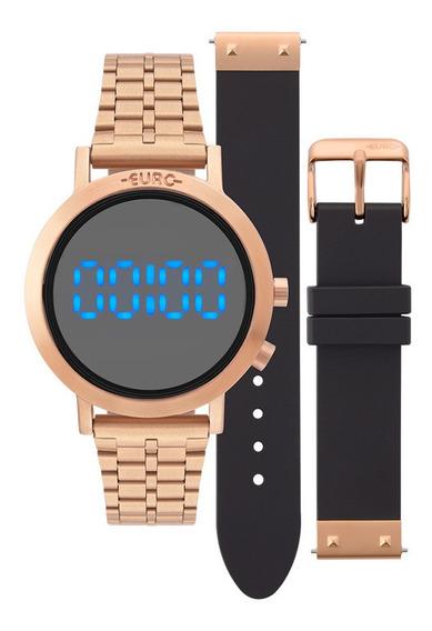 Relógio Euro Digital Led Feminino Eubj3407ac/t4p Rosê C/ Nfe