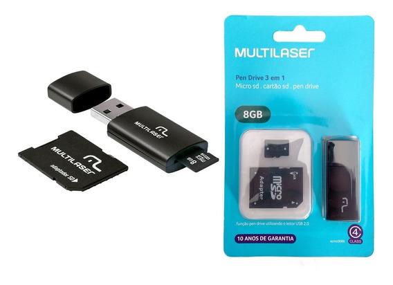 Kit 10 Cartões De Memória 8gb 3x1 Multilaser Com Adaptadores