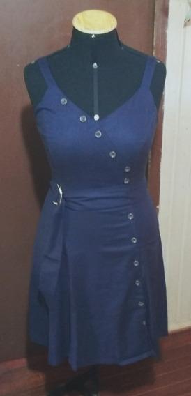 Vestido Midi Azul Marinho Elegante Botões