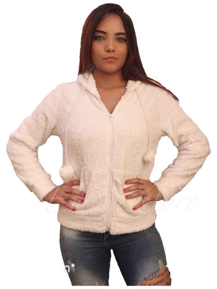 Casaco Feminina Inverno Pelúcia Pelinhos De Liso Com Capuz