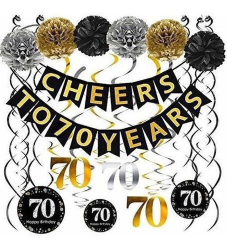 Imagen 1 de 5 de decoraciones 70ª Fiesta Cumpleaños Pack - Saludos  Band