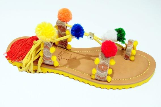 Rasteira Gladiadora Sandalia Baixa Gladiadora Com Pom Pom Ne