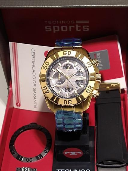 Relógio Technos Masculino Js15bd/4p Dourada Mostrador Preto