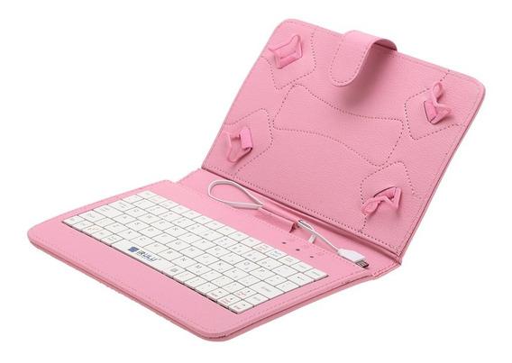 Forro Tablet 7 Pc Teclado Rosado 4 Agarres Sdeal Oferta