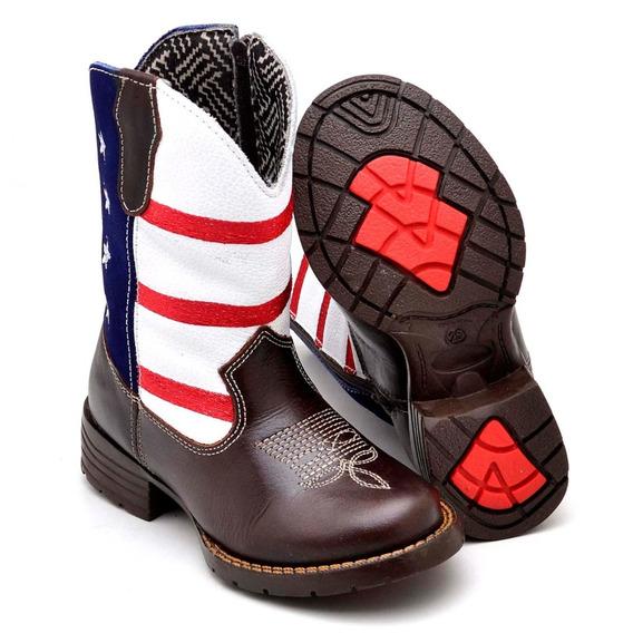 Bota Infantil Country Texana Masculina Em Couro Confort Eua