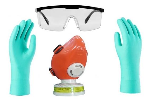 3 Kit Proteção Quimica Respirador Voga Óculos Luva Nitrilica