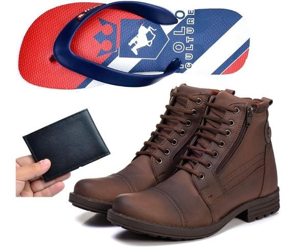 Coturno Bota +chinelo Polo Culture +carteira Masculino New