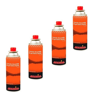 Cartucho Gas Butano Brogas 227 Gr Pack X 4 Garrafas