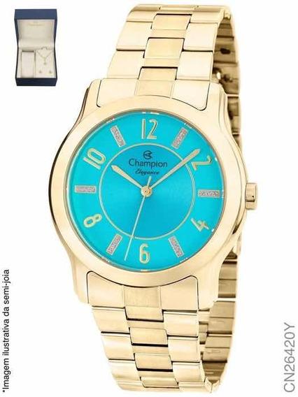 Relógio Champion Feminino Dourado Com Kit Cn26420y