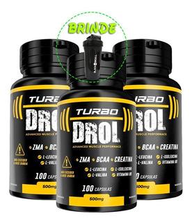3x Turbo Drol - 100 Cápsulas + Coqueteleira Pronta Entrega