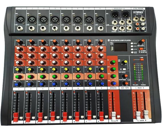 Mesa De Som 8 Canais Bluetooth Usb Mixer Mp3 Visor Le-711
