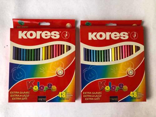 Creyones Kores De 48 Colores+sacapunta Nuevos