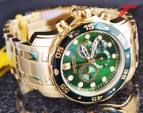 Invicta 0075 Pro Diver Chronograph 18k Relógio Banhado Ouro