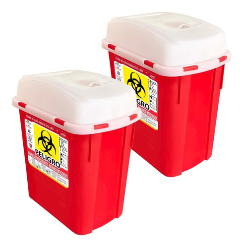 2 Pack Contenedor Para Residuos Punzocortantes Rpbi 4l Rojo