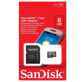 Cartão De Memoria Microsd Sandisk 8gb