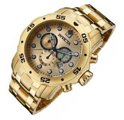 Relógio Invicta Pro Diver 0073 Azul B. Ouro 18k Original