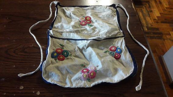 Antiguo Delantal Bordado Con Bolsillo Para Costura