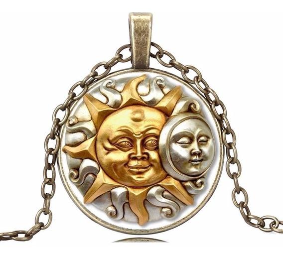 Colar Místico Cultura Cigana Casamento Sol Lua Fusão