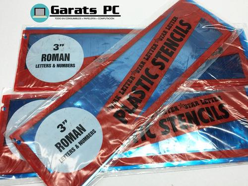 Plantillas De Letras Y Números Plastic Stencils 3 X6unid