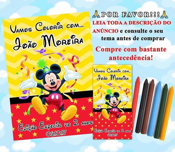 50 Kit De Colorir Personalizados Revistinha + Giz De Cera