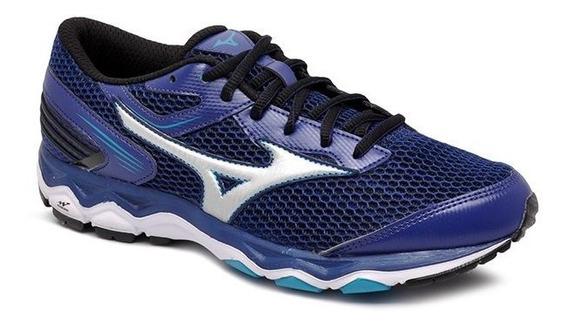 Tênis Mizuno Wave Hawk 2 4144302-0445 Azul/prata
