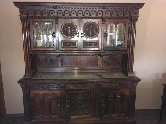 Mueble Antiguo Europeo Mesa Y 8 Sillas Roble. Firmado