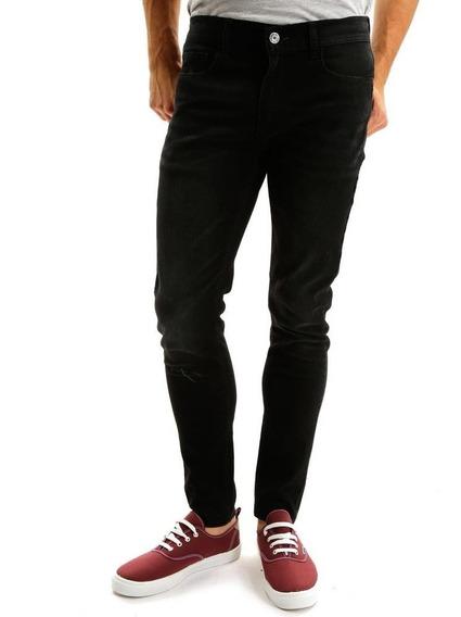 Pantalón De Mezclilla Skinny Negro