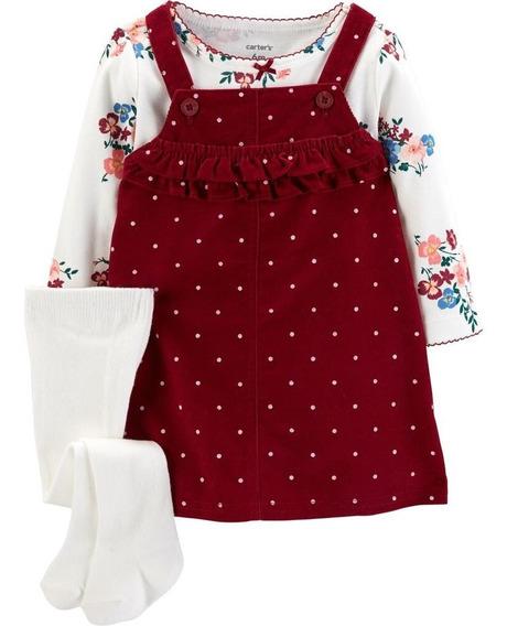 Jardineira Vestido Veludo Blusa E Meia-calça Carters Bordô