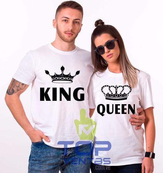 Franelas Personalizada King Queen Pareja Novios San Valentín