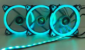 Kit Cooler Fan 120mm Rgb Conj 3 C/fita Led Controlador/contr