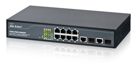 Switch Administrable 8 Puertos Poe 10/100 + 2 Combo Gigabit