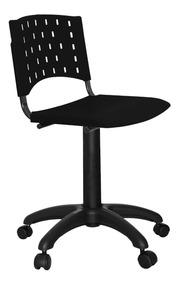 Cadeira Secretária Plástica Fixa Singolare Preta Promoção
