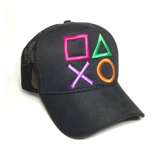 Boné Playstation Preto - Botões Game Jogos Ps2 Ps3 Ps4