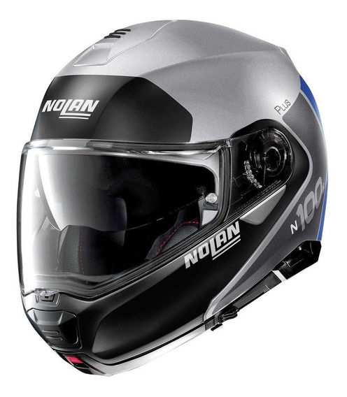 Casco Nolan Abatible N100-5 Distinctive N-com 30 Plata Mh&s