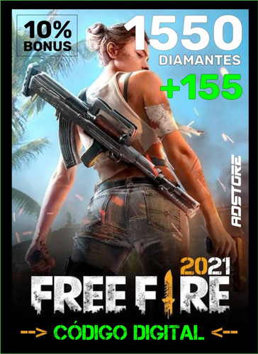 Imagem 1 de 9 de Free Fire Garena Freefire 1550 Diamantes + Bônus 10% Recarga