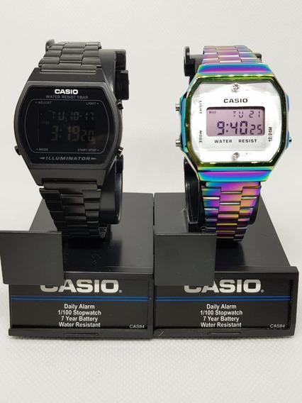 Reloj Casio Negro Mate B640w + Tornasol A168 Duo Vintage 2pz