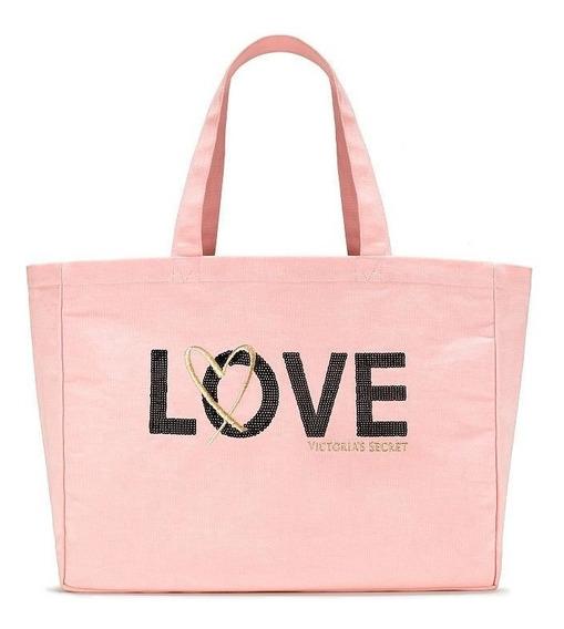 Bolsa Lona Rosa Tote Love Victoria Secret