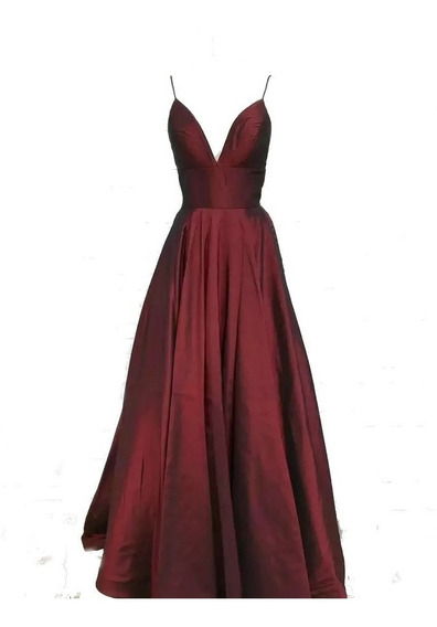 Vestido Fiesta Elegante Dia O Noche Rojo Quemado - Vino
