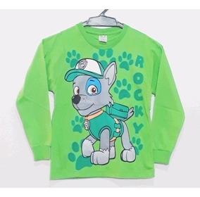 Camisetas Manga Longa Infantil Patrulha Canina Inverno